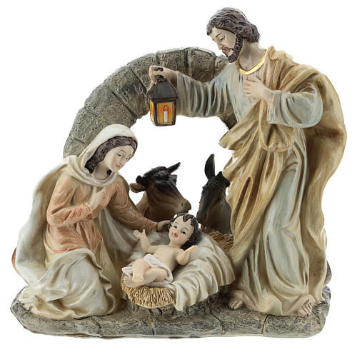 Nativity scene with stable 20 cm resin 1