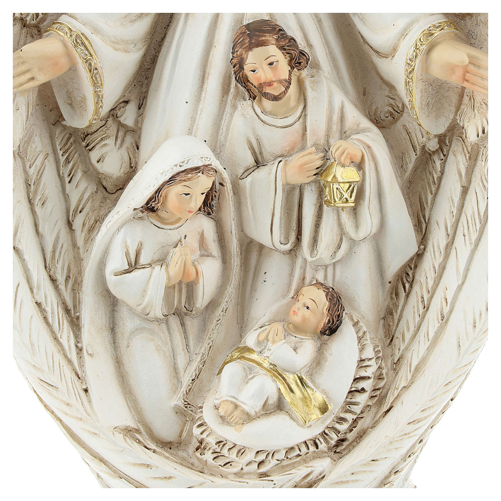 Nativity scene between the wings of the angel 23 cm resin 3