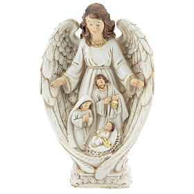 Nativity scene between the wings of the angel 23 cm resin s1