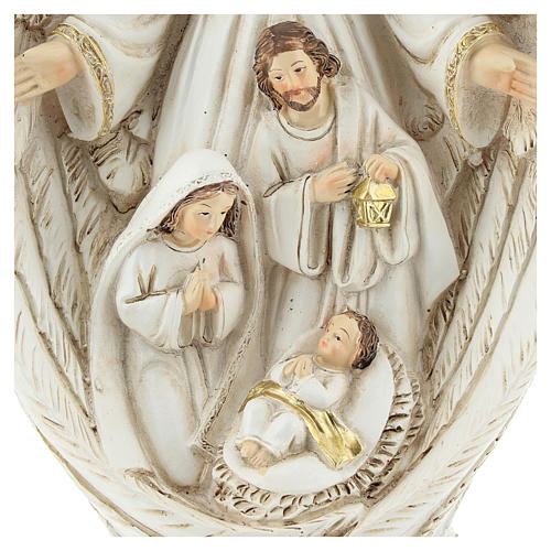 Nativity scene between the wings of the angel 23 cm resin 2