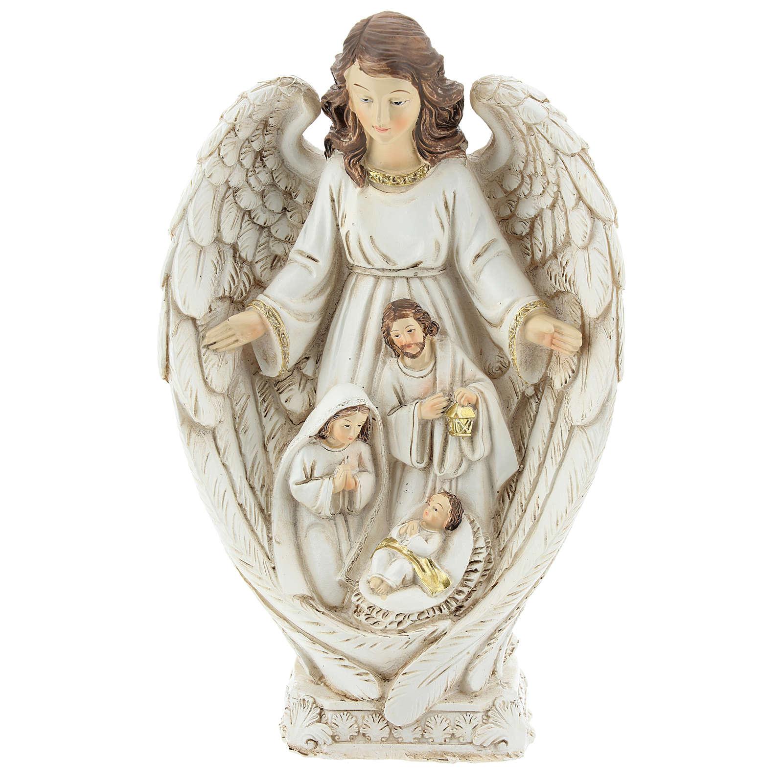 Scène Nativité entre les ailes d'un ange 23 cm 3