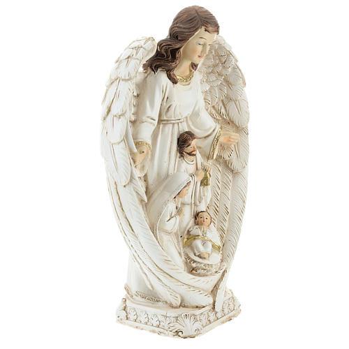 Scène Nativité entre les ailes d'un ange 23 cm 4