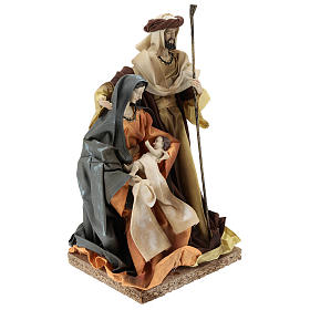 Holy Family in resin cloth 31 cm Brown finishing s4