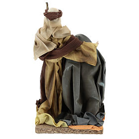 Holy Family in resin cloth 31 cm Brown finishing s5