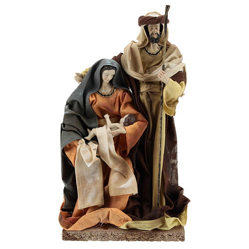 Holy Family in resin cloth 31 cm Brown finishing 1