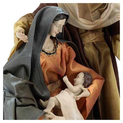 Holy Family in resin cloth 31 cm Brown finishing 2