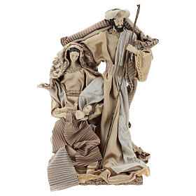 Holy Family set 31 cm resin and cloth Gold finish s1