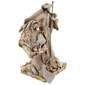 Holy Family set 31 cm resin and cloth Gold finish s4