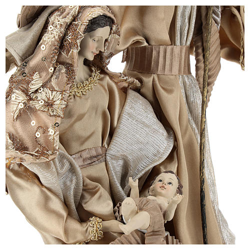 Holy Family set 31 cm resin and cloth Gold finish 2