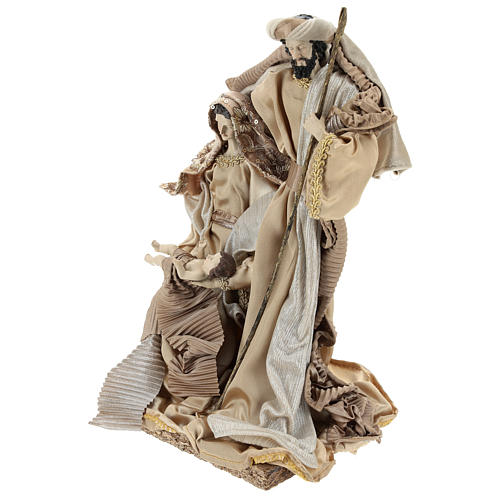 Holy Family set 31 cm resin and cloth Gold finish 3