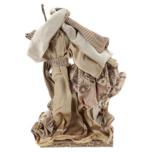 Holy Family set 31 cm resin and cloth Gold finish 5