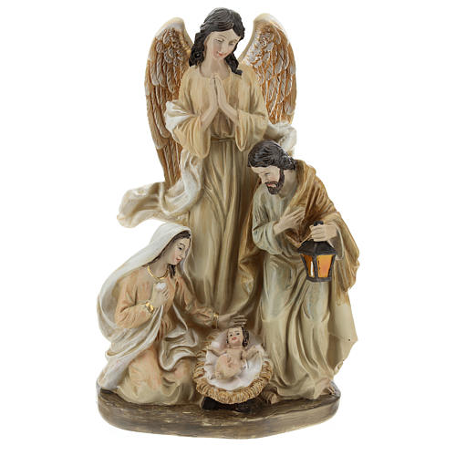 Holy Family with angel 23 cm resin 1