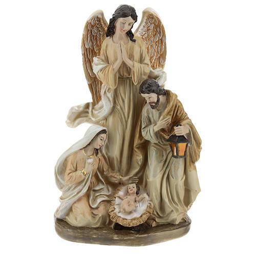 Sacra Famiglia con angelo 23 cm  1