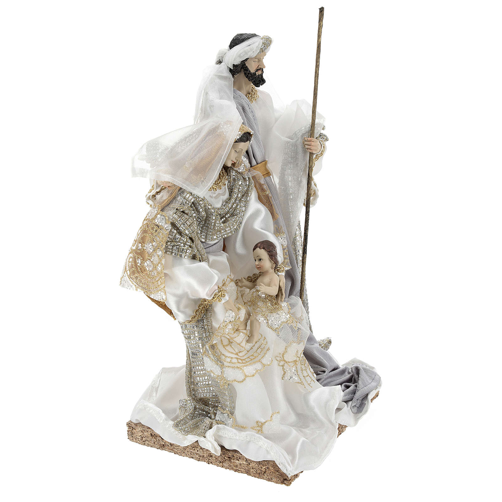 Holy Family 30 cm in resin and fabric with White finish 3
