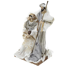 Holy Family 30 cm in resin and fabric with White finish s3
