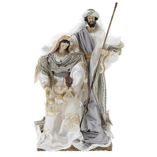 Holy Family 30 cm in resin and fabric with White finish 1