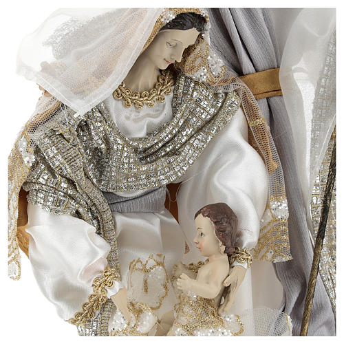 Holy Family 30 cm in resin and fabric with White finish 2
