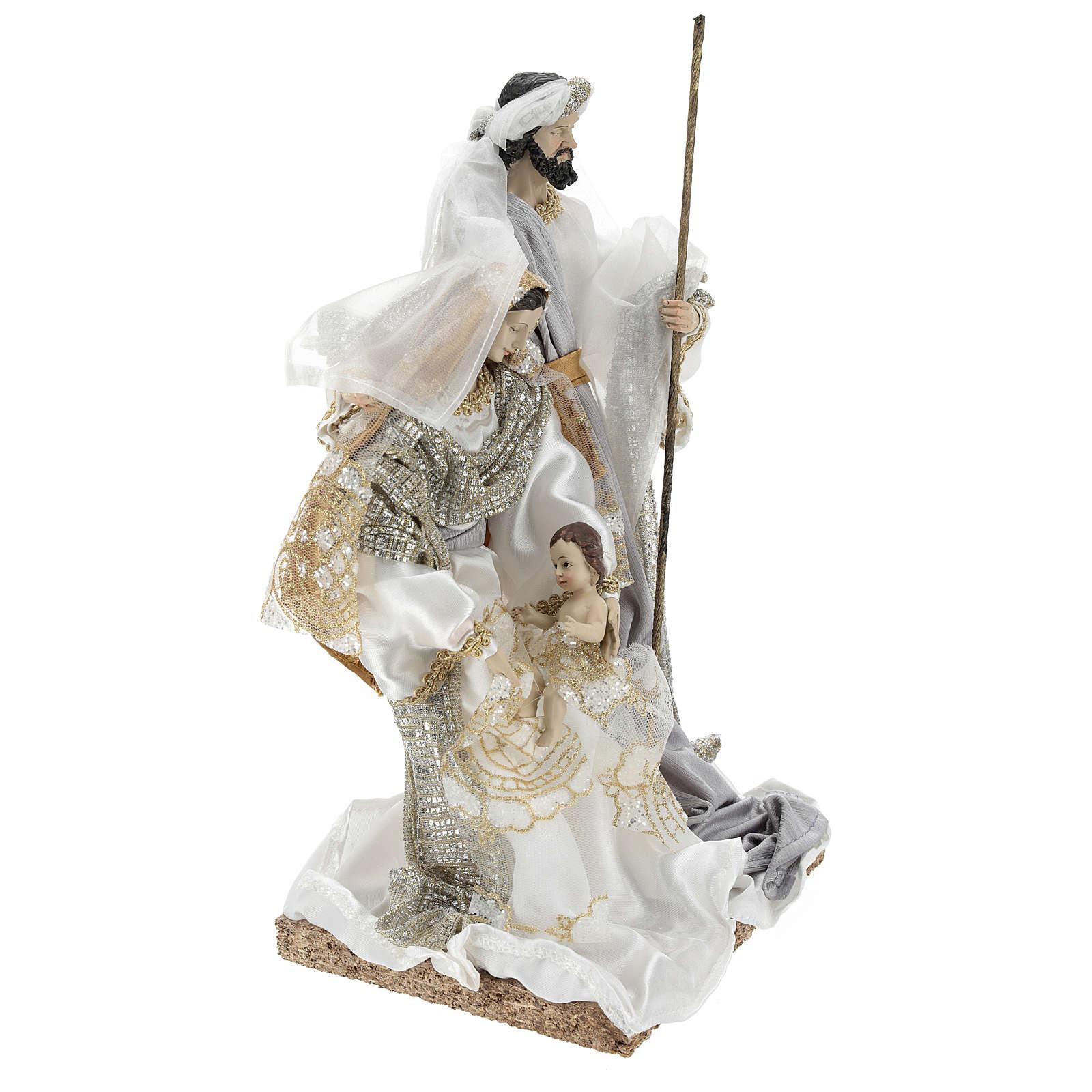 Sacra Famiglia 30 cm resina e tessuto White 3