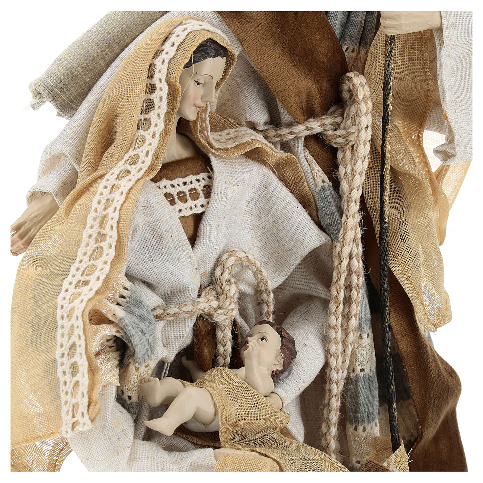 Nativity 31 cm in resin and cloth with Beige Grey finish 3