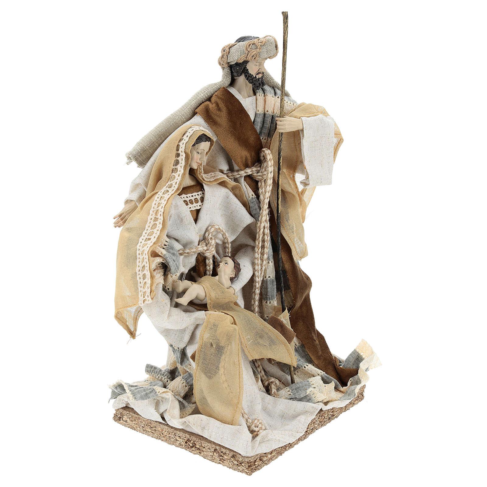 Nativité 31 cm résine et tissu beige gris 3
