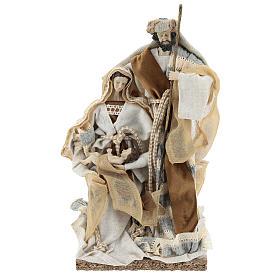Nativité 31 cm résine et tissu beige gris s1