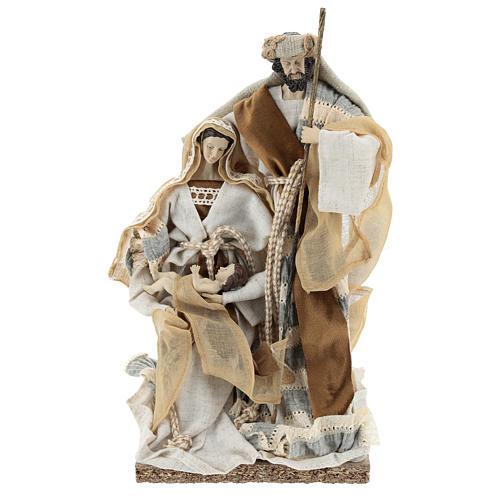 Nativité 31 cm résine et tissu beige gris 1