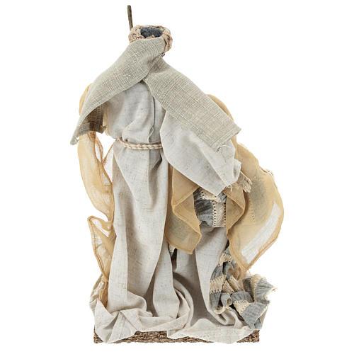 Nativité 31 cm résine et tissu beige gris 5