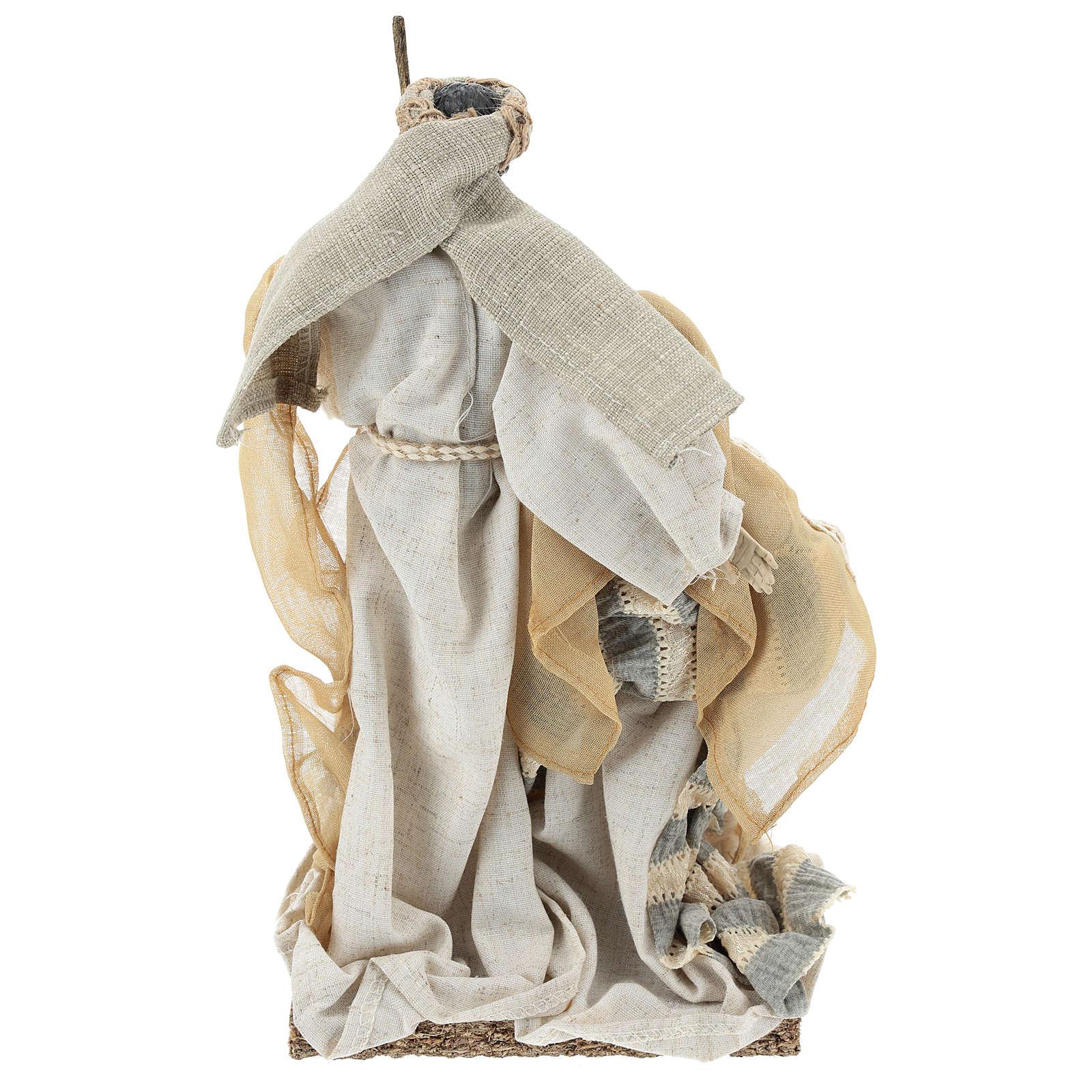 Natività 31 cm resina e tessuto Beige Grey 3