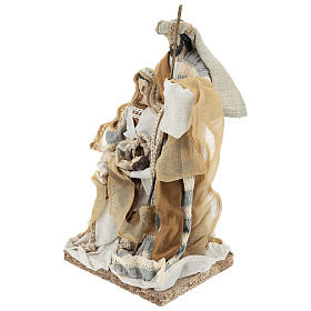 Holy Family statue 31 cm resin and Beige Grey cloth s3