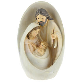 Holy Family with oval background 23 cm resin s1