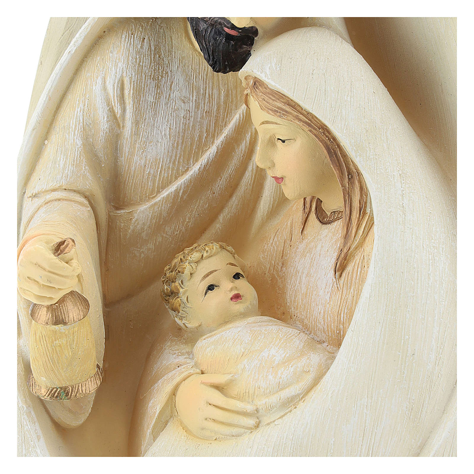 Holy Family set oval background 17 cm resin 3