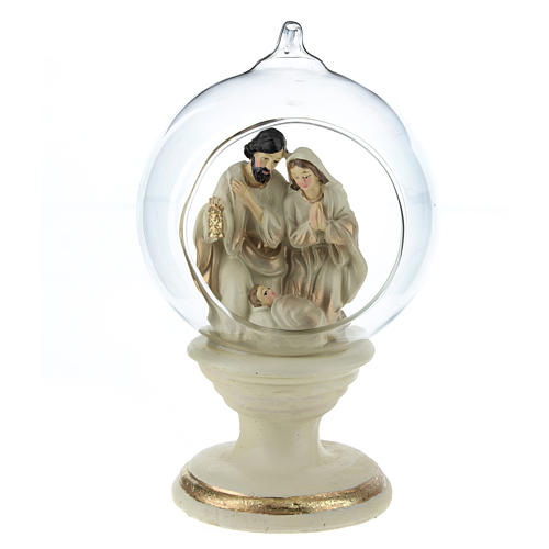 Nativity with glass ball 16 cm resin 1