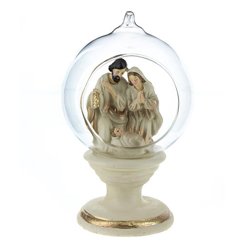 Nativity with glass ball 16 cm resin 2