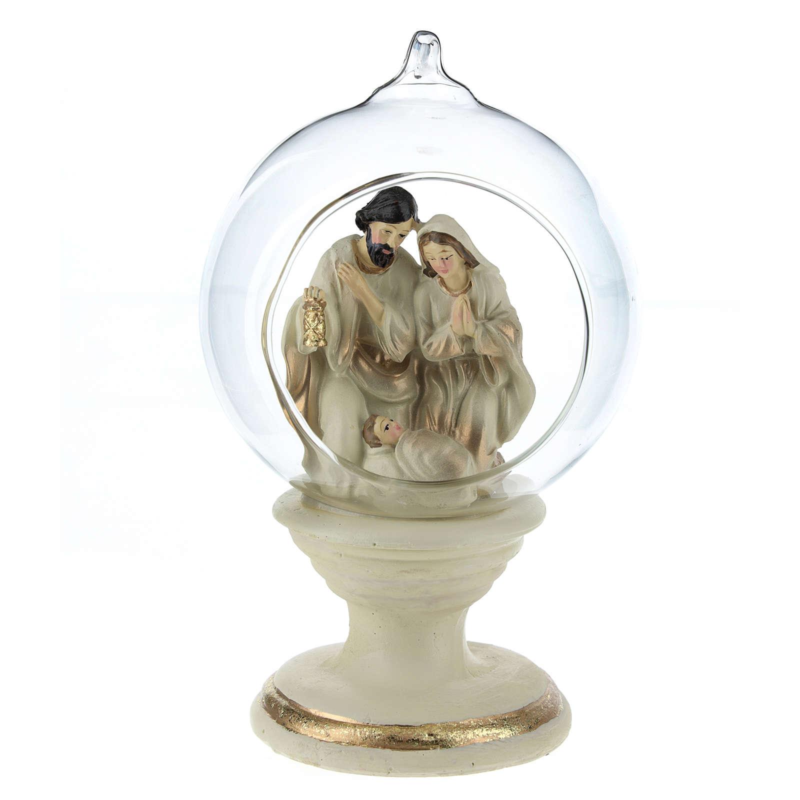 Nativité dans boule en verre 16 cm résine 3
