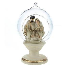 Nativité dans boule en verre 16 cm résine s1