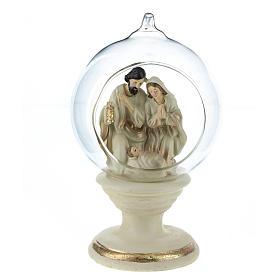Nativité dans boule en verre 16 cm résine s2