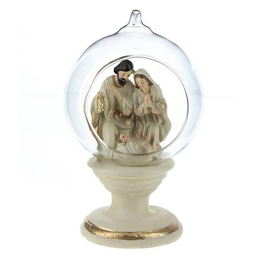 Nativité dans boule en verre 16 cm résine 1