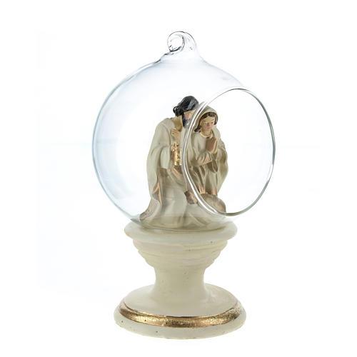 Nativité dans boule en verre 16 cm résine 4