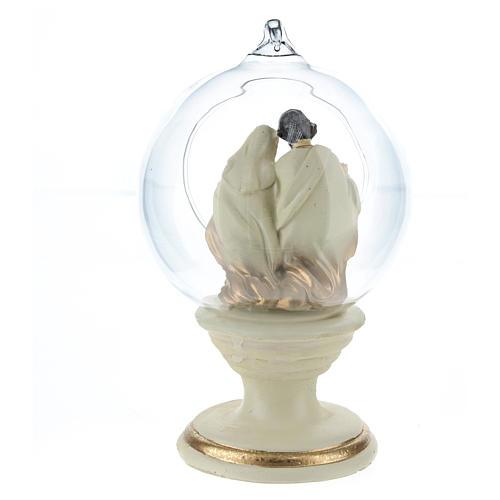 Nativité dans boule en verre 16 cm résine 5