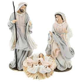 Nativity 36.2 cm, 3 pieces, resin and Ivory Pink fabric s1