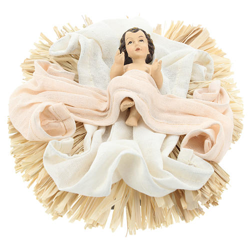 Nativity 36.2 cm, 3 pieces, resin and Ivory Pink fabric 3