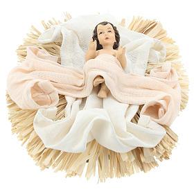 Natività 36 cm resina stoffa 3 pezzi colore Ivory Pink s3