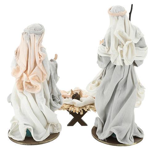 Natività 36 cm resina stoffa 3 pezzi colore Ivory Pink 6
