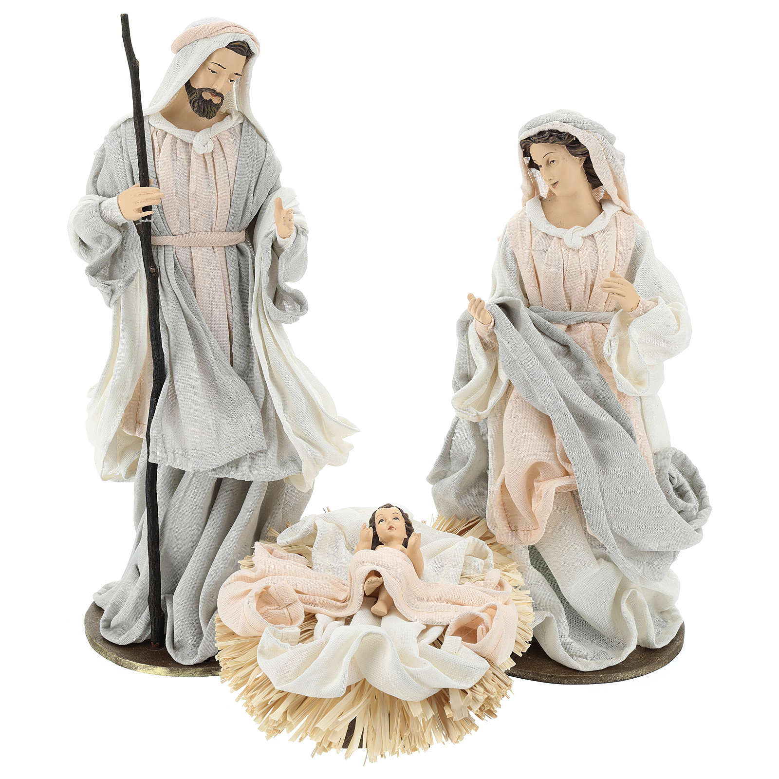Holy Family 36 cm resin cloth 3 pcs Ivory Pink color 3
