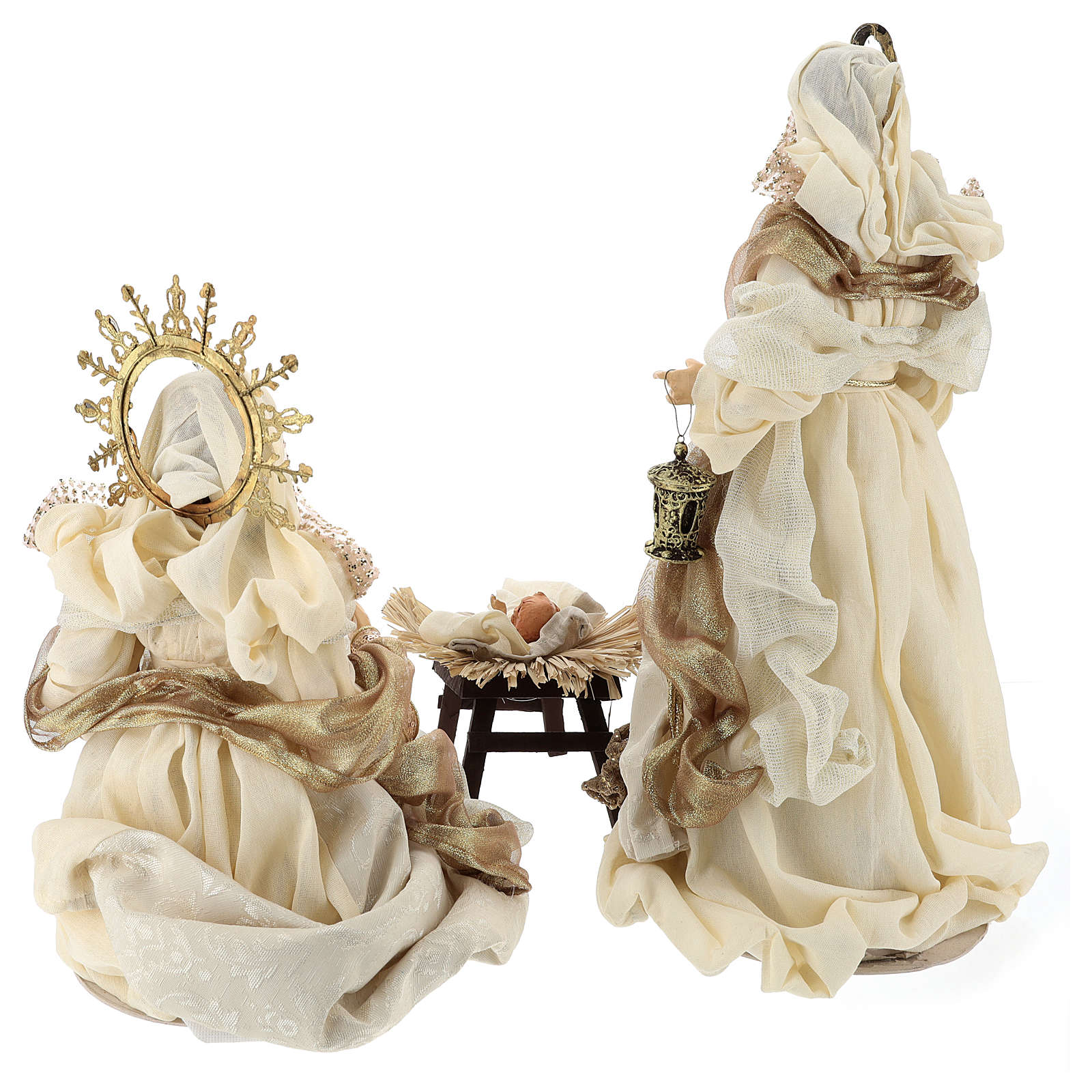 Holy Family set 3 pcs 46 cm Beige Gold resin cloth 3