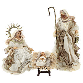 Holy Family set 3 pcs 46 cm Beige Gold resin cloth s1