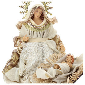 Holy Family set 3 pcs 46 cm Beige Gold resin cloth s2