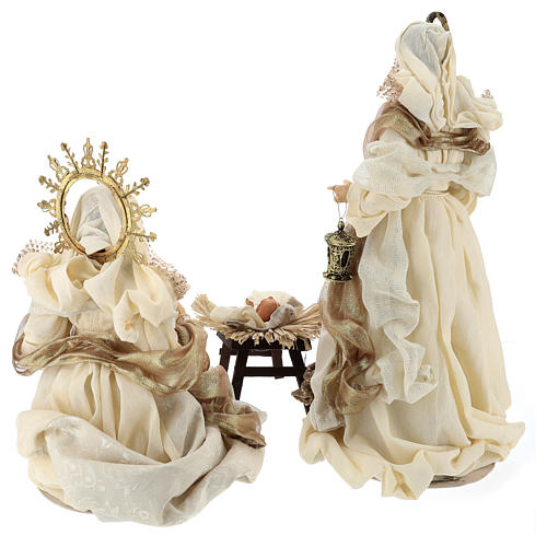 Holy Family set 3 pcs 46 cm Beige Gold resin cloth 6