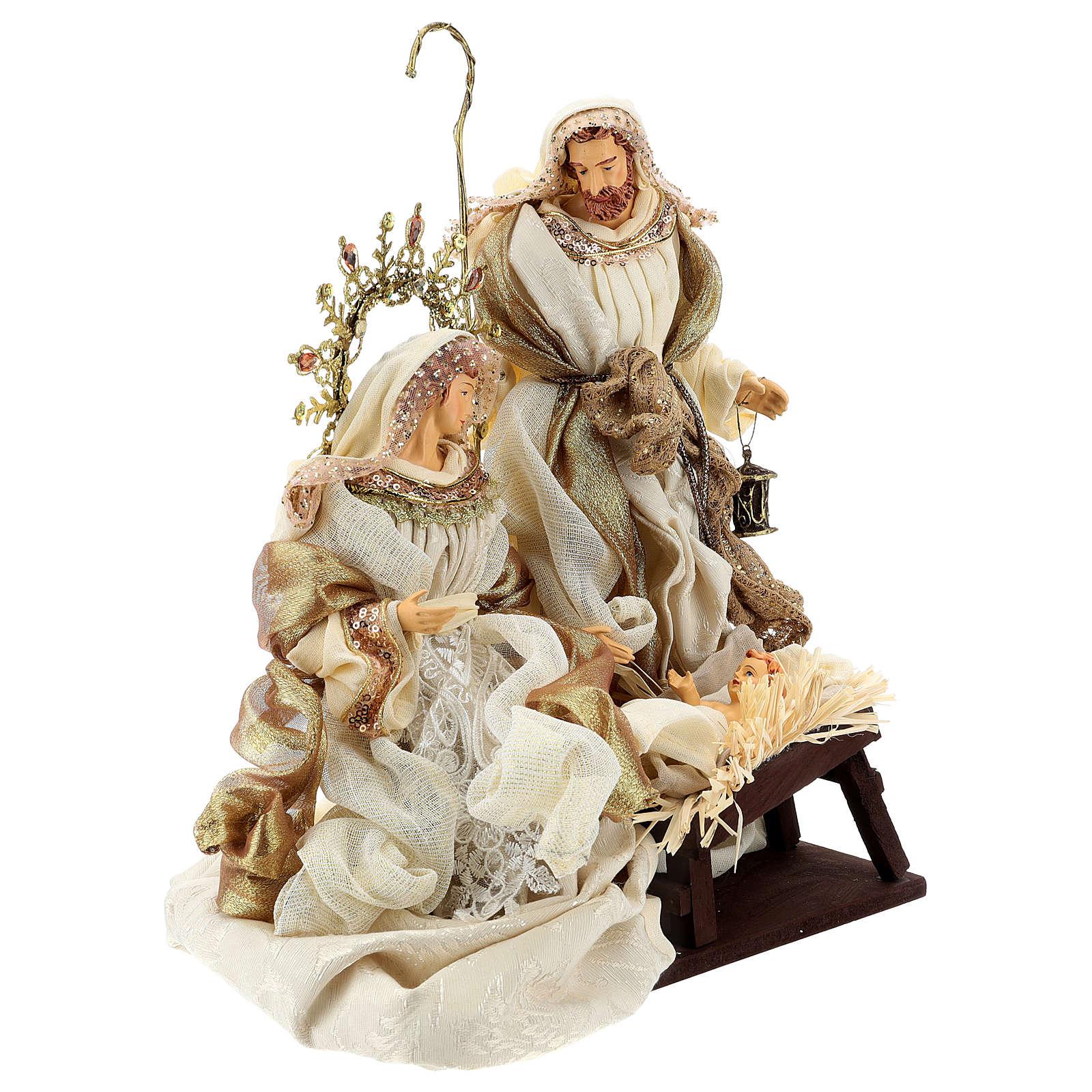 Natividad 3 piezas 36 cm resina tela Gold Beige 3