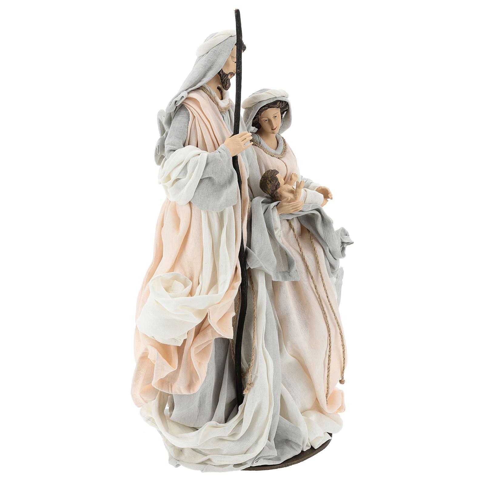 Natividade resina com base tecido cor de marfim e cinzento 47 cm 3